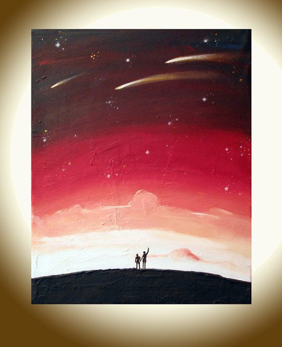 landscape painting whimsical art  16 x 20  Star by wrightsonarts, $99.00
