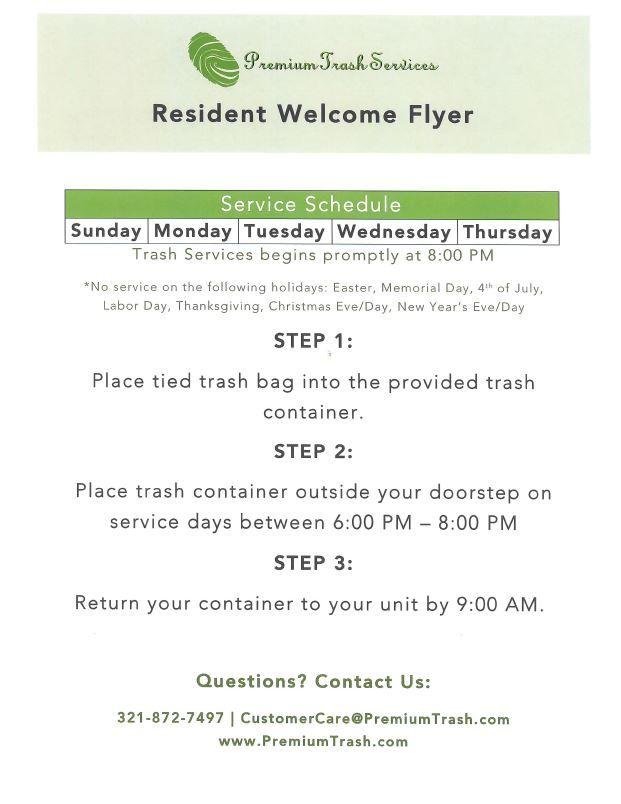 Premium Trash Services - Valet Trash service guidelines