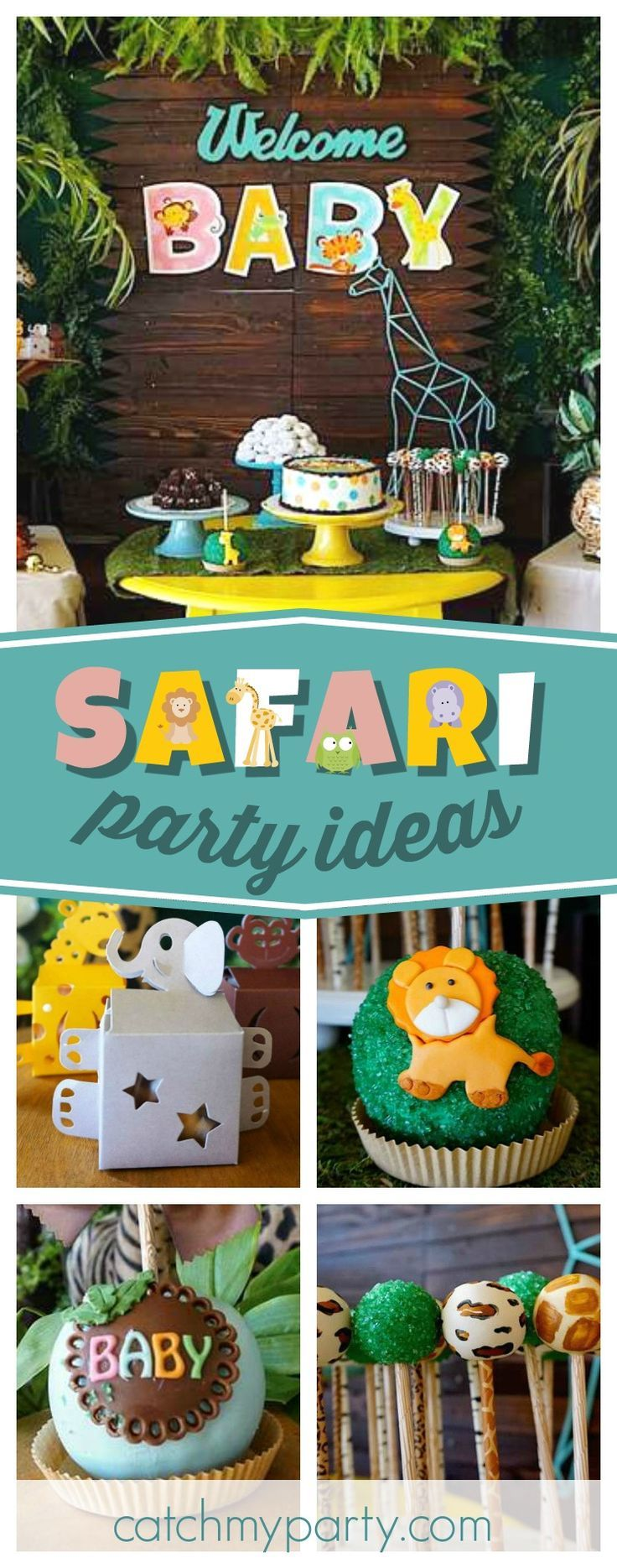 Don't miss this fun Safari Theme Baby Shower. The dessert table is so much fun!! See more party ideas and share yours at CatchMyParty.com