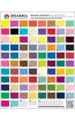 """This poster shows all the delicious colors available in our Dharma Trading Co. Acid Dye line. Due to the popularity of our Dharma Fiber Reactive Dye poster, it seemed natural to add in this Acid Dye poster for your additional enjoyment.�All 82 colors are included, the poster measures 17"""" x 22"""""""