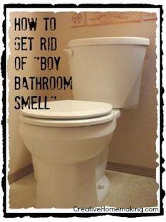 Easy DIY tip for ridding your bathroom of the dreaded 'boy bathroom smell'.: