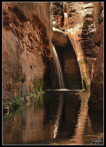Secret Waterfall in the Secret Canyon, Sedona, Arizona.
