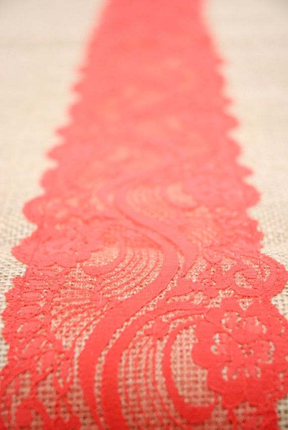 Beach Coral Orange Coral Red Vermillion Lace Burlap by Jessmy, $16.00