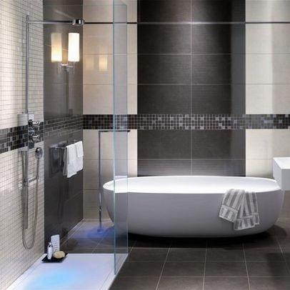 Bathroom Tile Grey and white