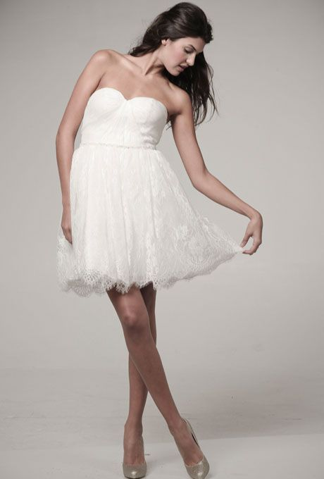 "Brides: Ivy & Aster - Fall 2012. ""Curtsy"" strapless short lace A-line wedding dress with a sweetheart neckline, Ivy & Aster"