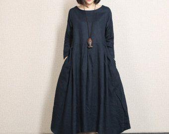 Tunica di lino sciolto abito doppi strati abito in di newstar2016