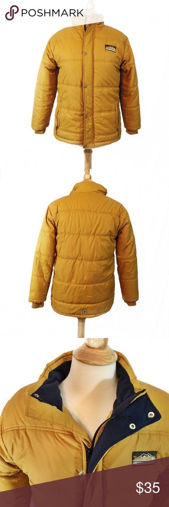 Unisex Timberland Mustard Color Puffer Jacket 🔹Great condition🔹Has fleece lining to keep you warm🔹2 front pockets🔹2 inner pockets🔹Has drawstrings at the bottom to do away with wind🔹Bust/Chest: 38-40 inches 🔹Size: Large 🔹Length from shoulder to bottom hem: 27 inches🔹Sleeves length with cuff: 24 inches🔹Shell: 100% nylon 🔹Lining: 100% polyester🔹Care: Machine wash cold 🔹This is a unisex jacket. Please check the measurements listed here to make sure this will fit you❄️You'd be glad…