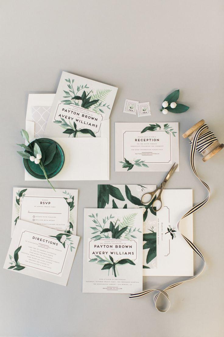 Greenery wedding invitation suite: Invitations: Minted - http://www.stylemepretty.com/portfolio/minted Stationery: Minted - www.minted.com Cakes: Nine Cakes - ninecakes.com   Read More on SMP: http://www.stylemepretty.com/little-black-book-blog/2017/05/17/wedding-invitations-cake-inspiration/