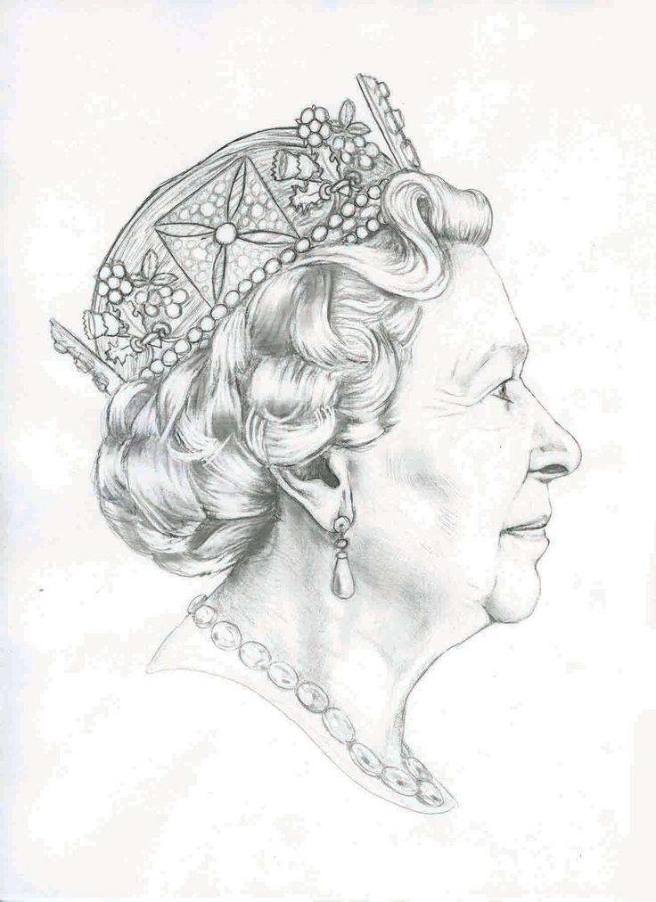 Line Drawing Of Queen Elizabeth Ii : Pencil sketch of queens head google search