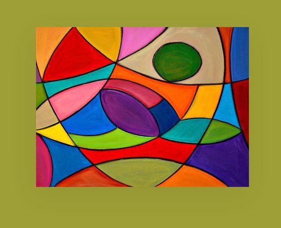Bright Colorful Original Abstract Painting von OraBirenbaumArt