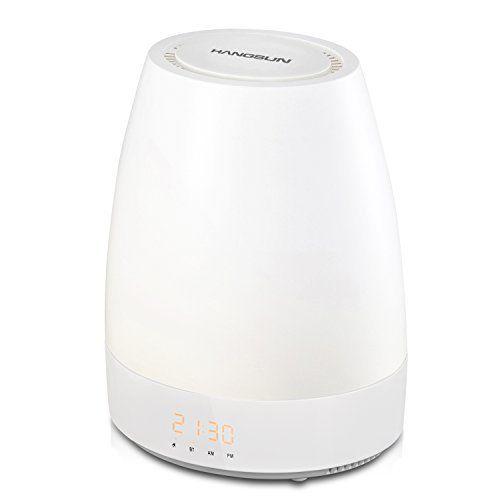 Hangsun Lampe de Réveil Bluetooth SL320 Lampe de Chevet Veilleuse Enfant Bébé , Lumière de LED, Simulateur d'aube, 8 Sons Naturels, 3…