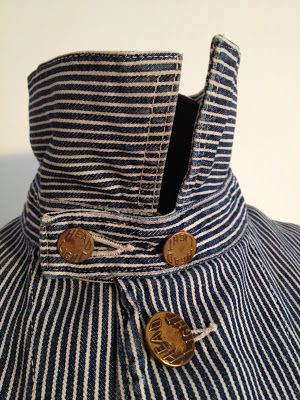 RARE ! 1930's era HEADLIGHT HICKORY STRIPE CHORE Work JACKET / Larned, Carter and Co. ◈