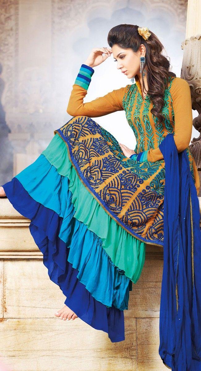 Divine Brown Color Georgette Designer Salwar Kameez
