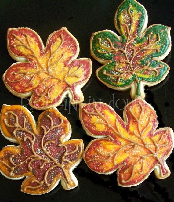 Fall Decorated Cookies  Leaves  Autumn Cookies by rollinindough, $30.00