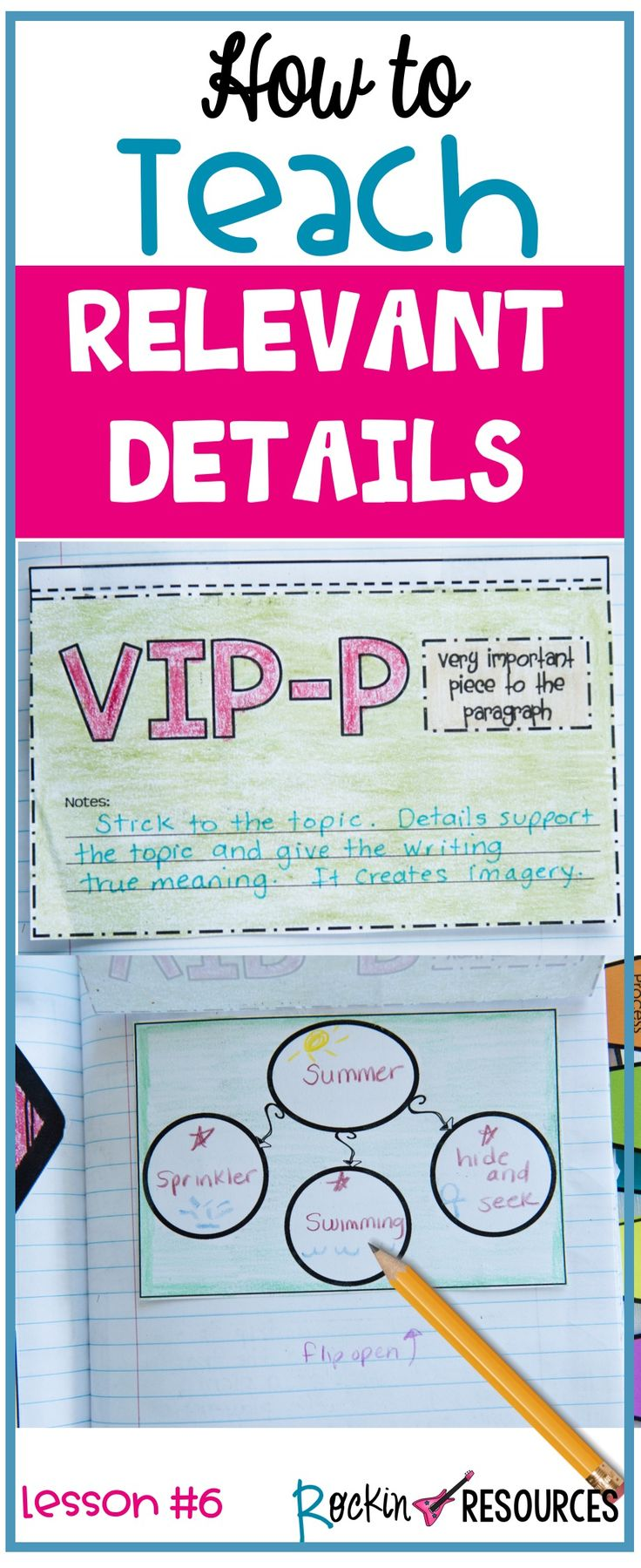 Do you need ideas for teaching students about RELEVANT DETAILS? This writing mini lesson will provide ideas for teaching students about writing relevant details in a paragraph including TRANSITION WORDS to help the paragraph flow smoothly. These ideas are ideal for any writing curriculum and are a part of a series of mini lessons for writer's workshop designed for scaffolding through the writing process.