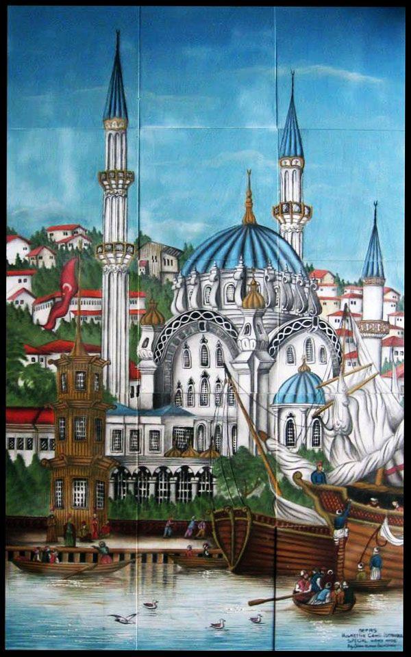 Tophane Nusretiye Mosque was built by (Armenian Architects, Balyan Family) Kirkor BALYAN, in Baroque-style for Sultan II. Mahmut, between 1823- 1826, in Istanbul. Nusretiye Camii - Özel El Yapımı Çini Pano