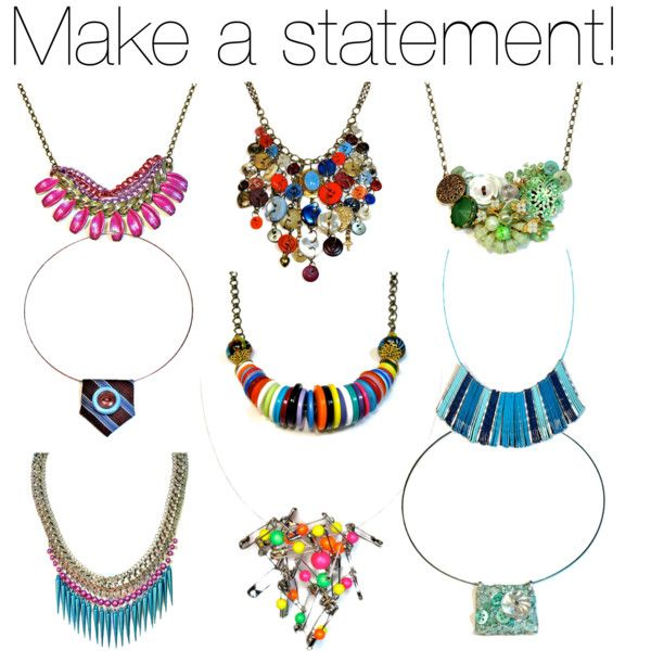 Handmade Statement Necklace - Upcycled Jewelry by blukatdesign on Polyvore featuring jewelry, handmade and upcycled