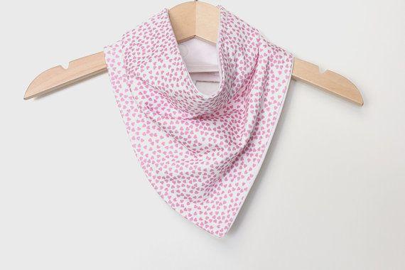 Organic Cotton Baby Bandana Bib  Hearts Pink  Adjustable by raenne, $14.00