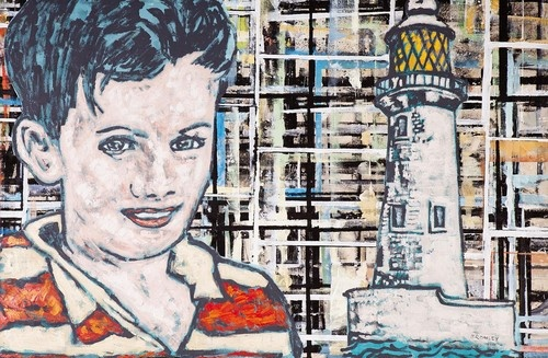 """DAVID BROMLEY """"Boy and Lighthouse"""" Polymer Paint on Canvas, Signed Lower Right, Image/Canvas Size: 200cm x 300cm"""