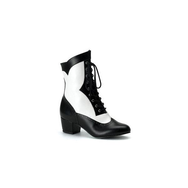 Victorian 110 black and white steampunk boots