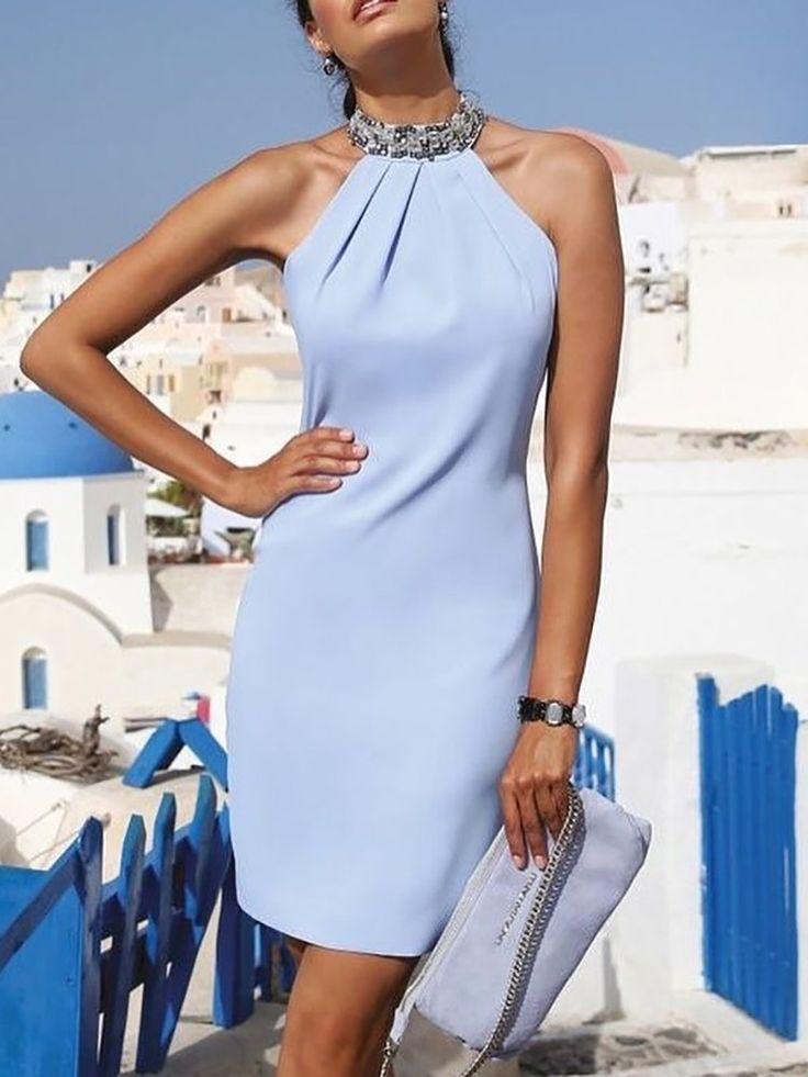 Halter Shiny Embellished Neck Ruched Mini Dress 7