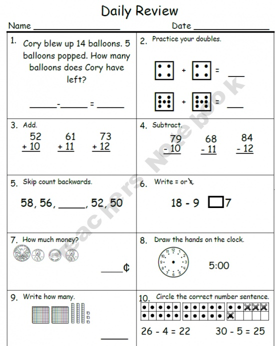 daily math review 1st up education ideas daily math homeschool math cooperative. Black Bedroom Furniture Sets. Home Design Ideas