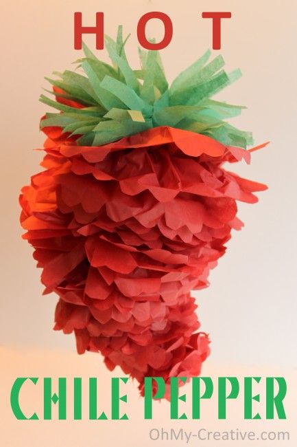 Hot Chili Pepper tissue paper pom via @ohmy!creative blog ~ full DIY pictorial ~ participating in @Kim {The Celebration Shoppe} link party at blog.thecelebrati...