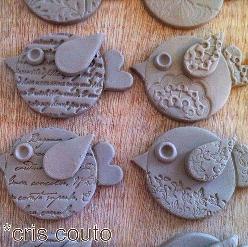 cute clay birds