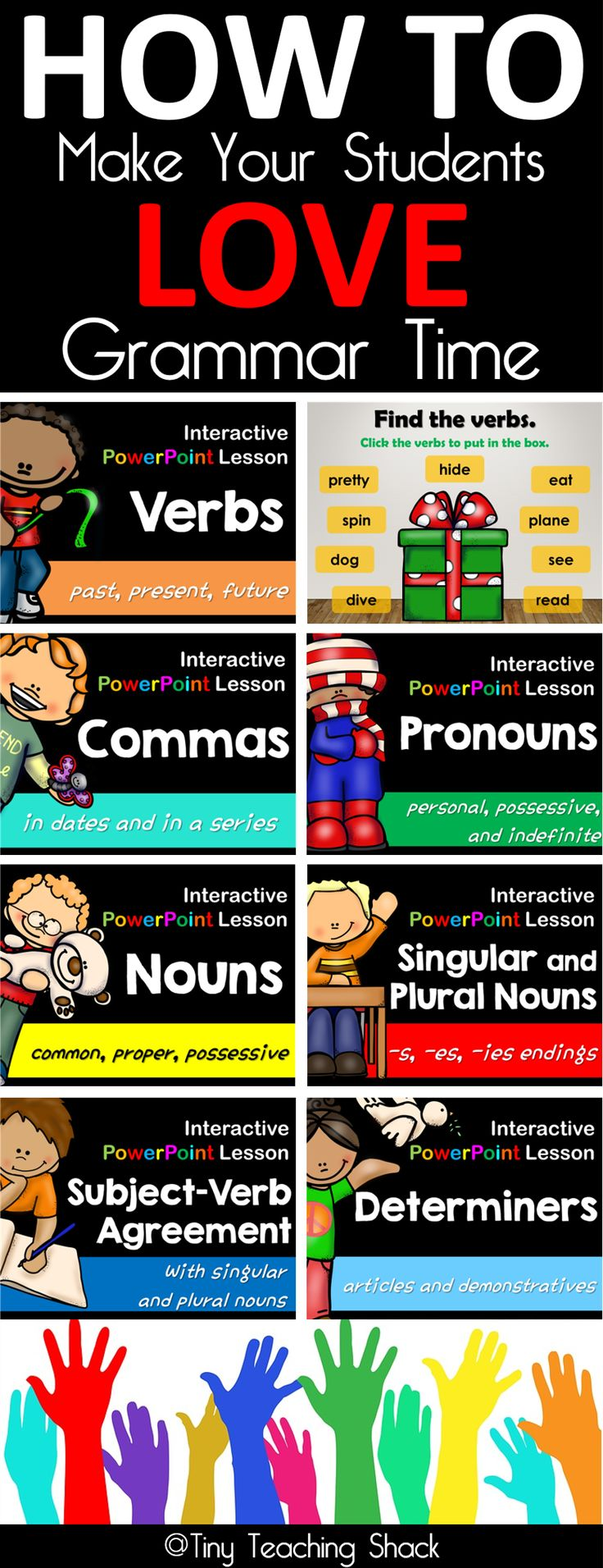 Your students will surely love interactive PowerPoint grammar lessons. It is a great tool to teach, review, and assess.These lessons will hook your student's attention with animated exercises. You can use them on a projector or a smart board.