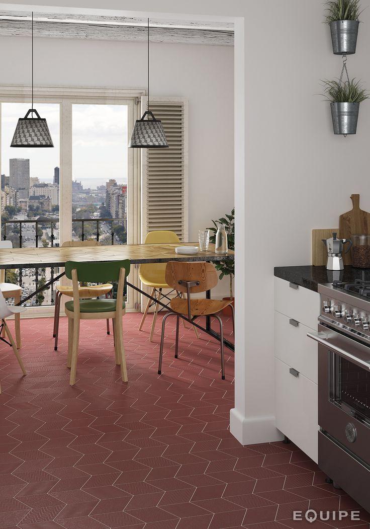 Rhombus Red 14x24. #modern, #rhombus, #rhombus tile, #interior design, #design, #shape, #forms, #decor, #bath, #bathroom, #kitchen, #geometric tile, #geometric forms, #diamond pattern, #diamond, #equipe, #equipe cerámicas, #ceramic materials, #indoor, #flooring, #porcelain tile, #outdoor, #wall tile, #floor tile