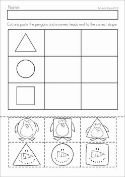 Winter Preschool Math and Literacy No Prep worksheets and activities. A page from the unit: cut and paste the matching shapes