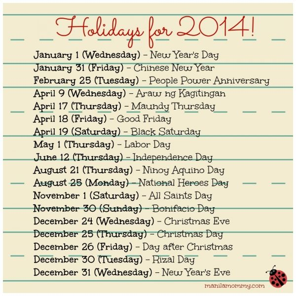National Holiday Calendar 2014