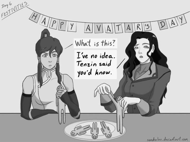 In remembrance of the day the Avatar was not boiled in oil. | Korra and Asami | The Legend of Korra | The Last Airbender | Avatar | Fan Art