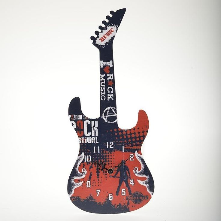 Great modern wall #clock in Guitar shape! www.inart.com