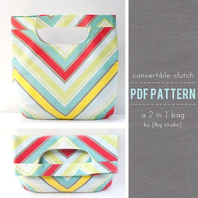 convertible clutch for summer. diy by lbg studios.: Lbg Studios, Pdf Sewing Patterns, Sewing Projects, Convertible Clutches, Totes Bags, Bags Patterns, Clutches Tots Bags, Clutches Patterns, Tote Bags