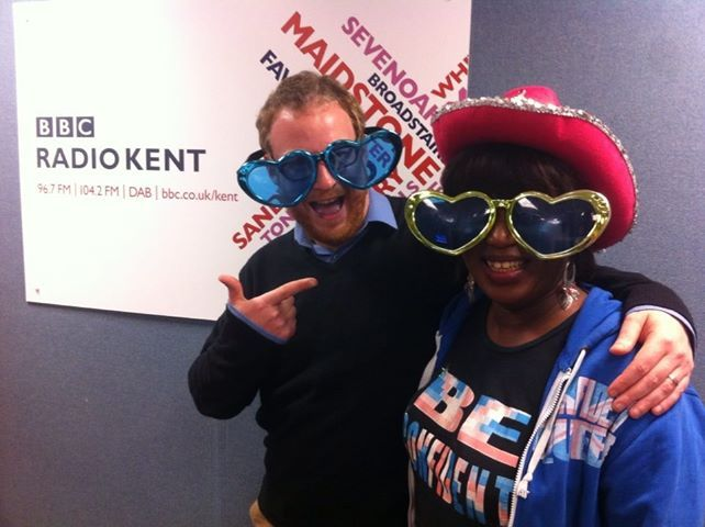 """At BBC Radio Kent with Dominic King after my interview, Dominic  King  """"Our special guest on today's Drive time was Gravesend community worker Genny Jones, who was nominated for a Pride of Britain award. She's been bringing a smile to all of our faces, listen to find out why"""""""