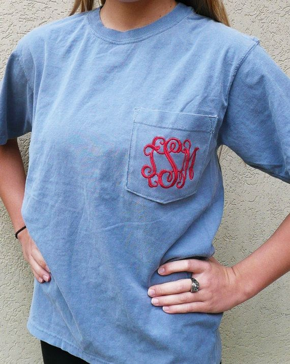 monogrammed pocket t-shirt, personalized pocket t-shirt, Comfort colors t shirt on Etsy, $17.00