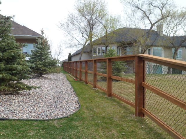 wood and chain link fence bing images