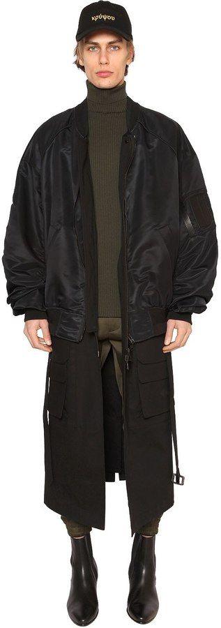 Juun.J Nylon Bomber Jacket W/ Long Panels