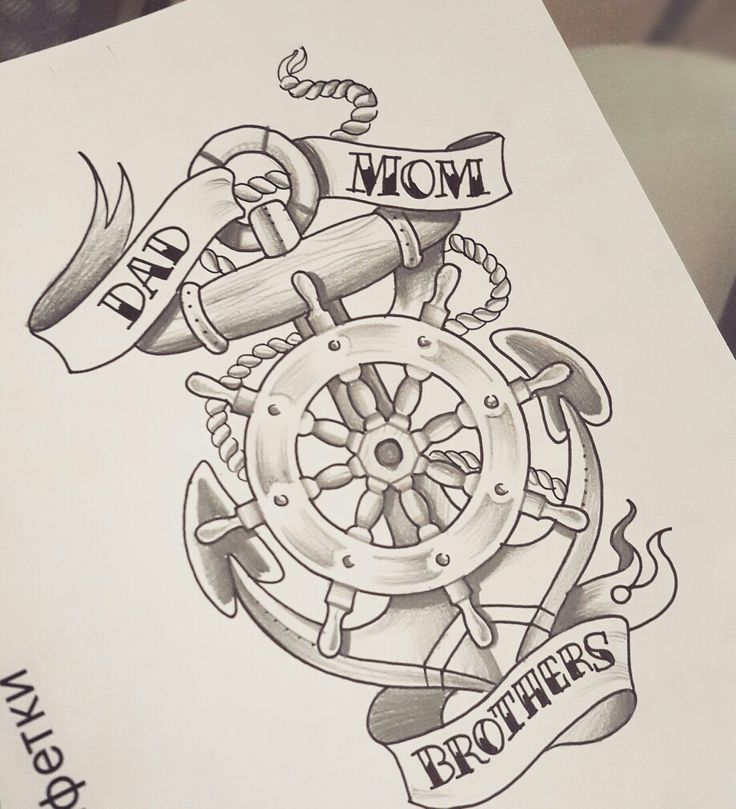 old school anchor and helm tattoo by moma