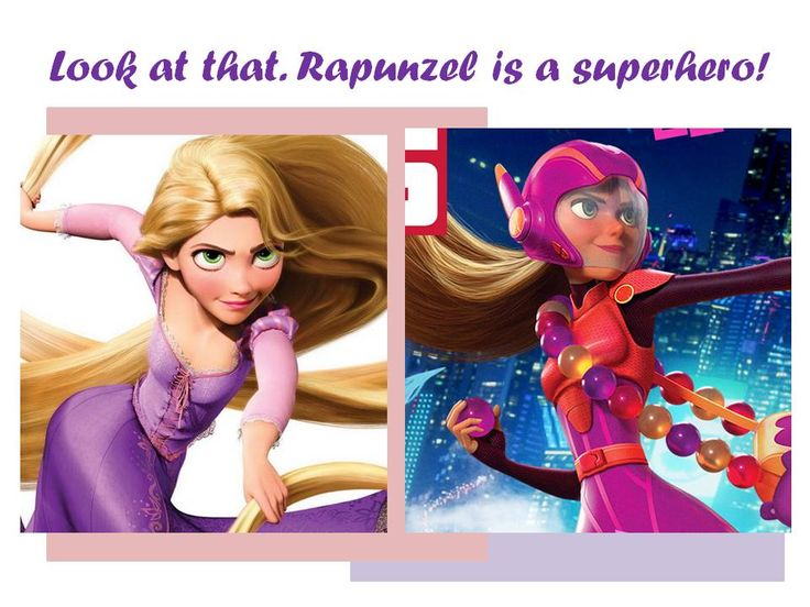 I was looking at the character designs for Big Hero Six when I noticed that Honey Lemon looks so much like Rapunzel from Tangled! It's kind of crazy how similar they are- their hair, eyes, face shape, and even their outfit colors!