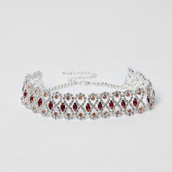 Silver tone rhinestone red jewel choker ❤ liked on Polyvore featuring jewelry, necklaces, rhinestone chain necklace, jeweled choker, chain choker necklace, red rhinestone necklace and red choker necklace