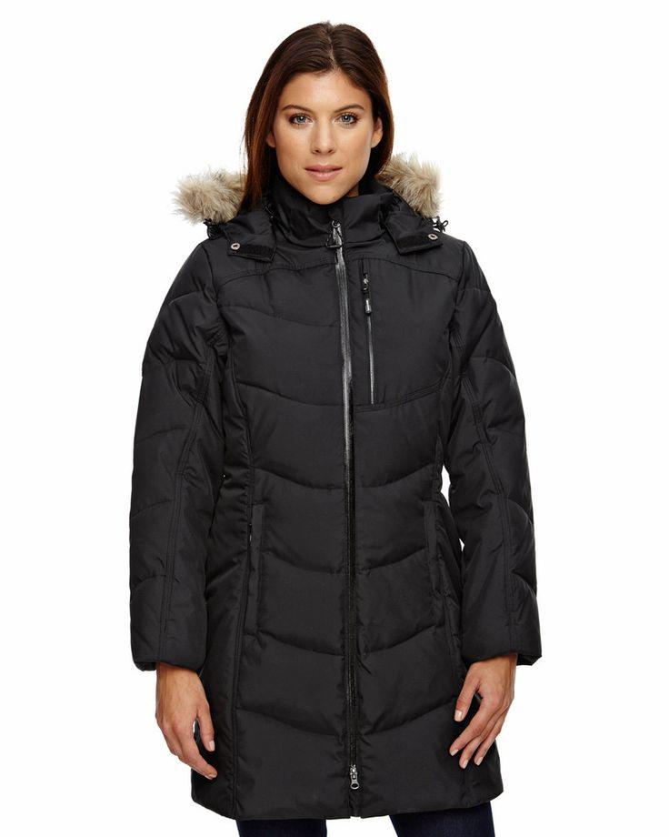 Ladies' Boreal Down Jacket with Faux Fur Trim: WINTER WHITE 822 - 3XL