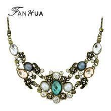 Colar Vintage šperky Maxi náhrdelník pre ženy Retro Spanilá bronzovej reťazec s farebnými drahokamu Collares náhrdelník (Čína (pevninská časť))