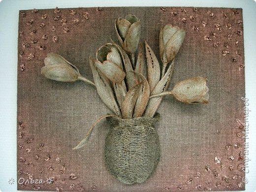 Картина панно рисунок День рождения Моделирование конструирование ∞ Тюльпаны ∞ Краска Мешковина Чай Шпагат фото 1