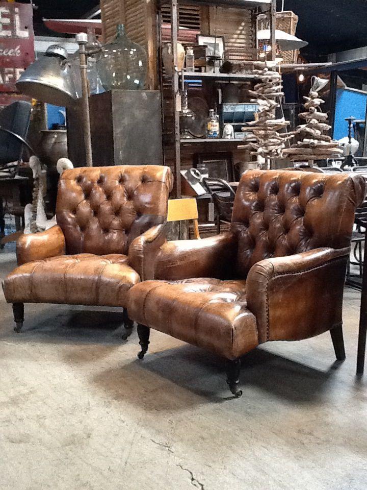 Vintage Tufted Leather Chairs @Michael Atkins Daddyu0027s Antiques  Www.bdantiques.com