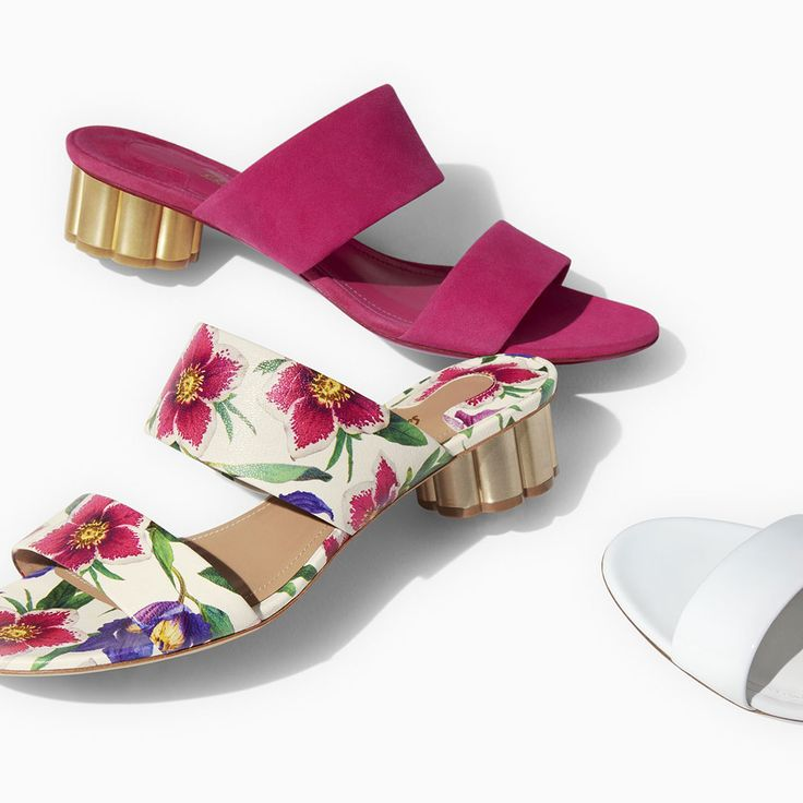 Inspired by a classic. The iconic flower heel in sandal form, just in time