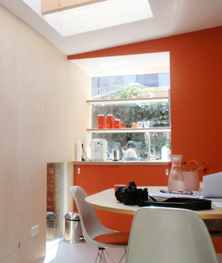 Orange Wall Paint Also Build In Cabinet Plus Round Dining Tables And White Stools Small Home Office Furniture Sets: Enormous Elegant Home Office Furniture Decor