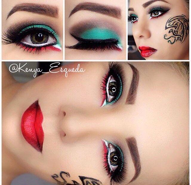Maquillaje mexicano verde blanco y rojo