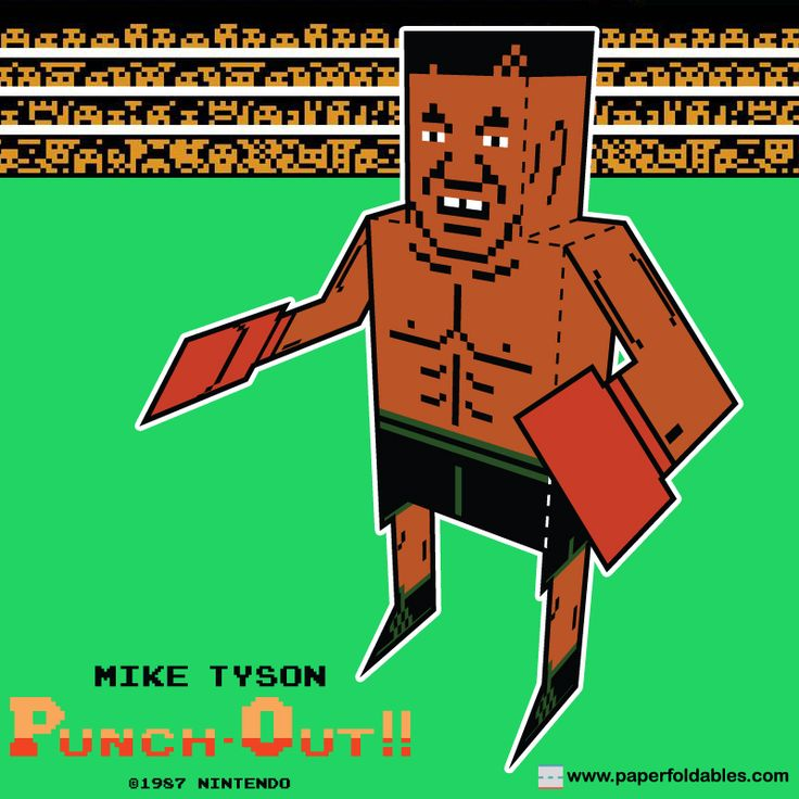 Mike Tyson Nintendo NES Punch-Out!! Paper Foldable